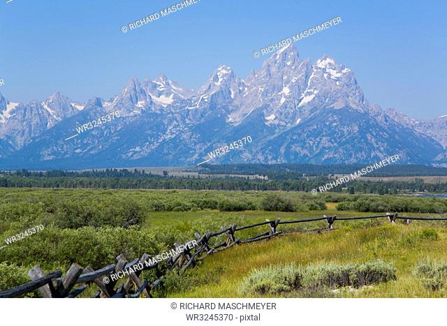 Teton Range from Cunningham Cabin area, Grand Teton National Park, Wyoming, United States of America, North America