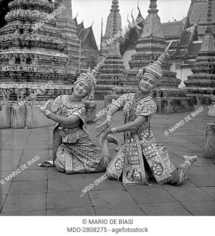 Young Thai artists performing in a traditional dance. Bangkok, 1961