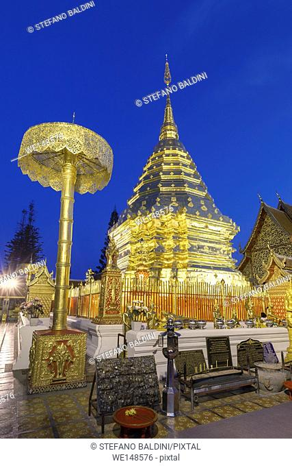 Wat Phra That Doi Suthep temple at night, Chiang Mai, Thailand