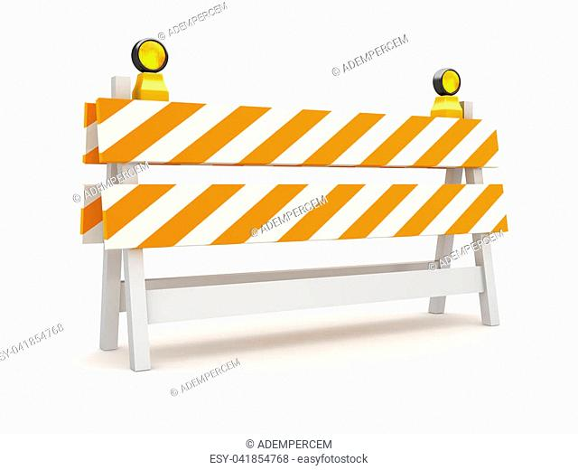 Isolated Orange Roadblock , This is a 3d rendered computer generated image. Isolated on white