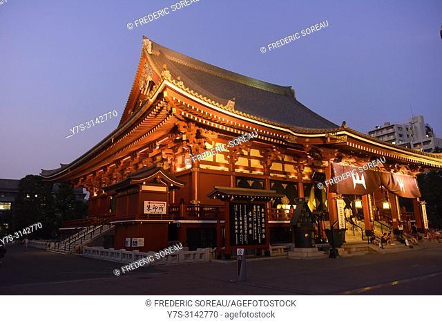 Senso-ji temple at night,Asakusa,Tokyo,Japan,Asia