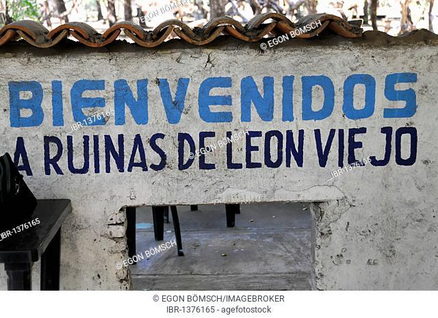 Bienvenue, welcome, ruins of Leon Viejo, Leon, Nicaragua, Central America