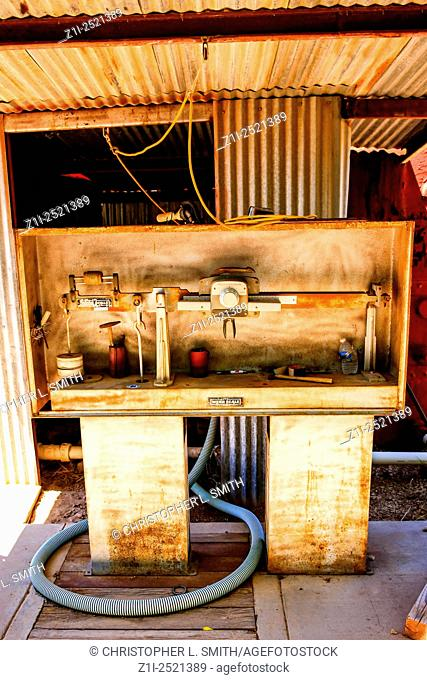 Old Engineering equipment in a junkyard on Route 66 in Tucumcari NM