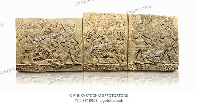 Hittite sculpted orthostats panels of Long Wall Limestone, Karkamıs, (Kargamıs), Carchemish (Karkemish), 900-700 B. C. Soldiers