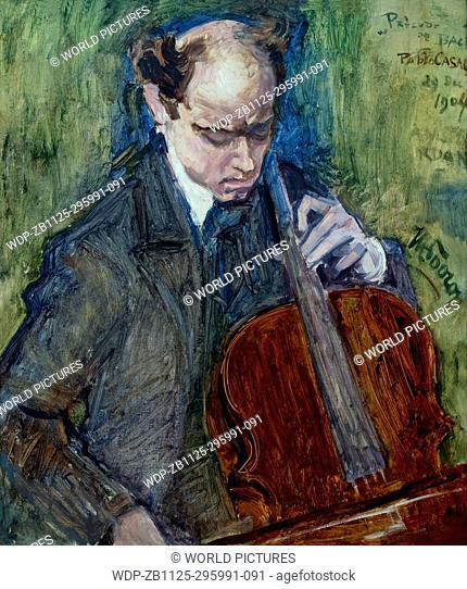 Pablo Casals Playing Cello, by Jan Toorop, 1904,Boijmans van Beuningen Museum, Rotterdam, Netherlands, Europe