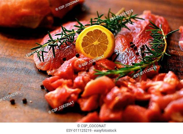 Pork meat on a cutting board
