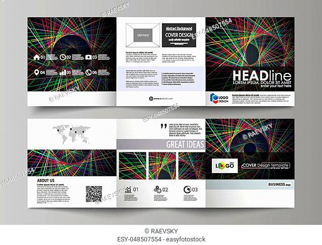 Set of business templates for tri fold square design brochures. Leaflet cover, abstract flat layout, easy editable vector