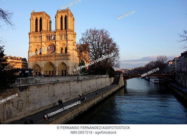 Notre Dame Cathedral. River Seine. Paris. France. Europe