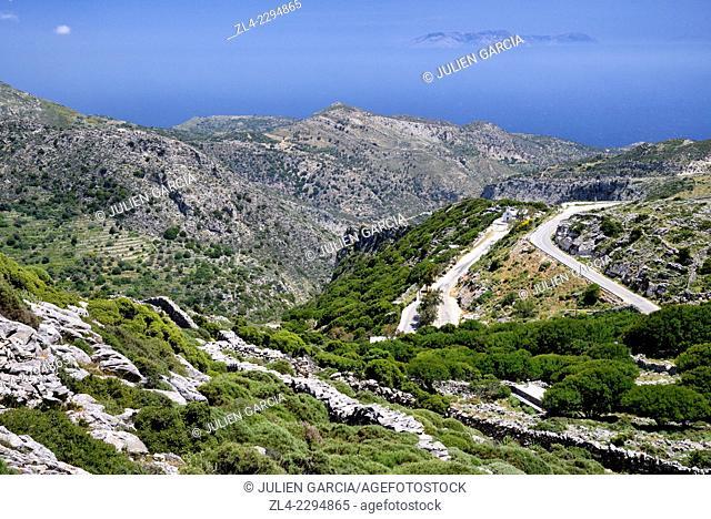 Road near Koronos, between Apollonas and Apiranthos (Apeiranthos, Apiranthos). Greece, Greek islands in the Aegean sea, the Cyclades, Naxos island