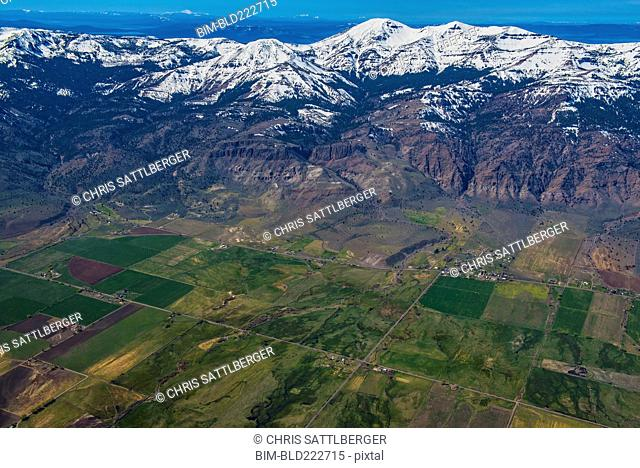 Aerial view of farmland and mountains, Cedarville, California, United States