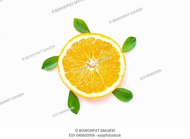 Slice of fresh orange citrus fruit isolated on white background