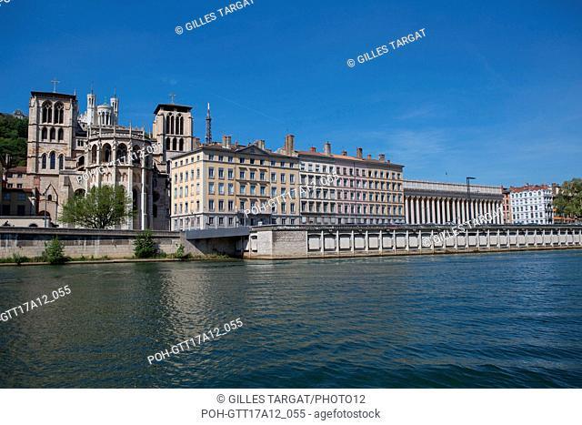 France, Lyon, Quays of the Saône River, Quai Romain Rolland, Cathédrale Saint-Jean-Baptiste, Court of Appeal Photo Gilles Targat