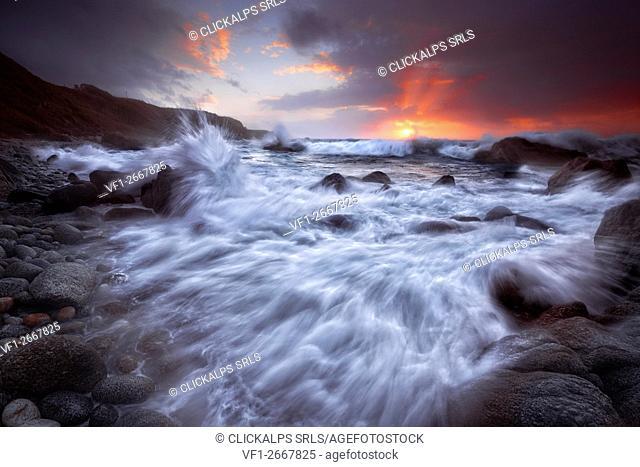 Briatico Coast, Briatico, Vibo Valentia, Tyrrhenian Sea, Calabria, Italy. Sunset in Briatico Coast