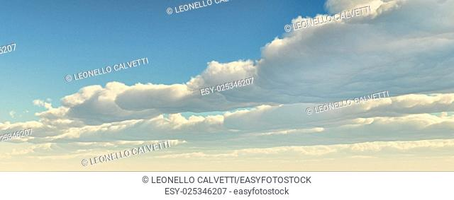 Blue sky with clouds front on the right. Computer generated Image