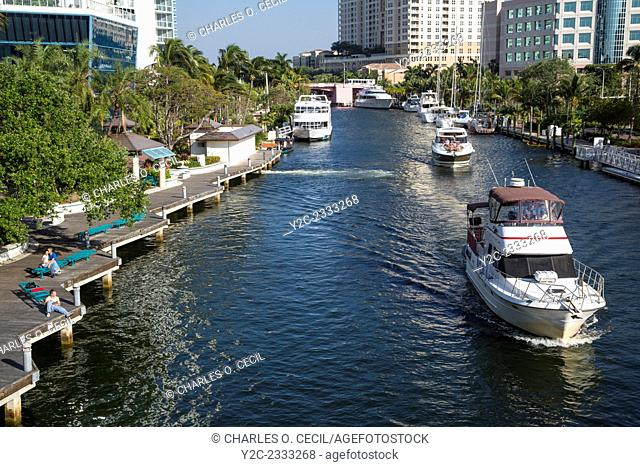 Ft. Lauderdale, Florida. Pleasure Boats on New River in the Afternoon