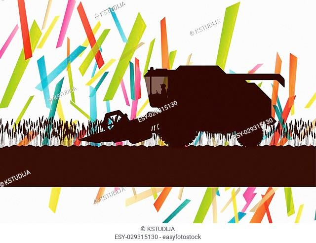 Agriculture machinery farm harvester tractor combines vector illustration in farming landscape abstract background concept