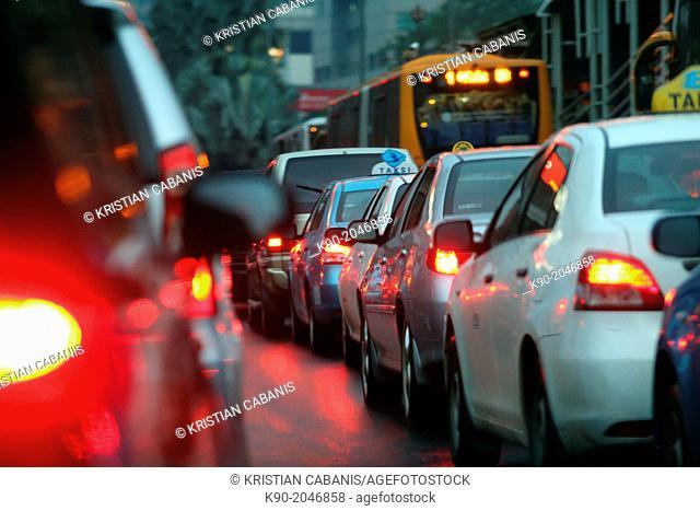 Traffic jam, Jakarta, Java, Indonesia, Southeast Asia