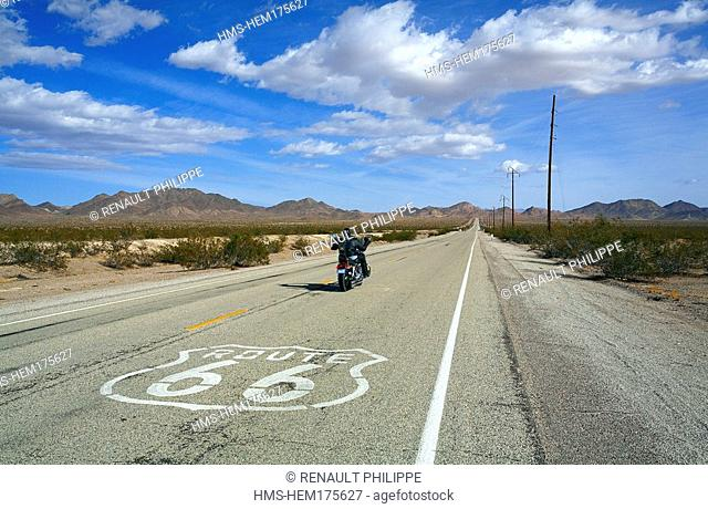 United States, California, Route 66 near Amboy, road markings and biker