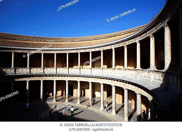 Palacio de Carlos V. Alhambra. Granada. Spain. Andalusia. Europe. UNESCO 1984