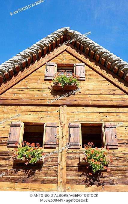 Detail of a Traditional alpine home seen in the village of Campriolo. Municipality of Baceno. Province of Verbano-Cusio-Ossola. Piedmont. Italy