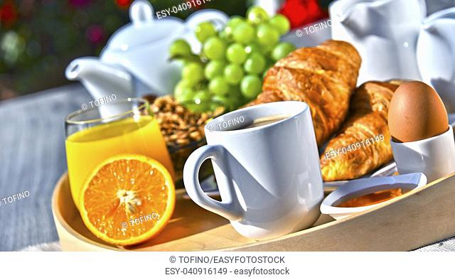 Breakfast served with coffee, orange juice, croissants, cereals and fruits in the garden