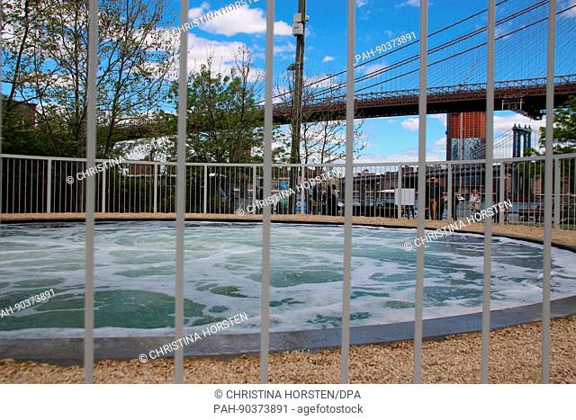 A water art installation titled Descension by artist Anish Kapoor at Brooklyn Bridge Park in New York, US, 03 May 2017. - NO WIRE SERVICE - Photo: Christina...