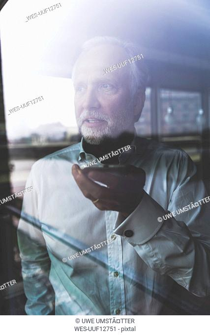 Portrait of mature businessman at the window using cell phone