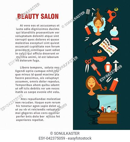 Woman hairdresser beauty salon poster flat design for hair coloring and styling. Vector icons of professional coiffeur color dye, hairbrush comb