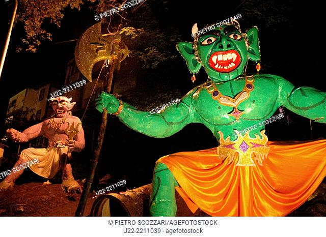 Panjim, Goa, India: big papier-maché monsters to be burnt during the night of the Diwali Festival