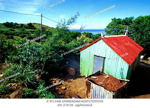 Local hut (walls and roof are made of corrugated iron). Rodrigues Island. Mauritius