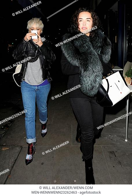 Rita Ora shows off her new blonde bob haircut, as she leaves Pizza Express in Notting Hill, with sister Elena Ora, and close friend Vas J Morgan