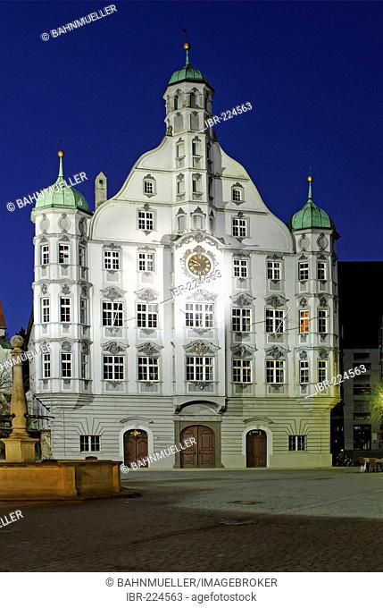 Memmingen Bavarian Swabia Bavaria Germany Market square city hall