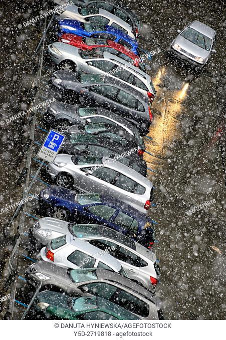 street scene in winter seen from above, Geneva, Switzerland, Europe