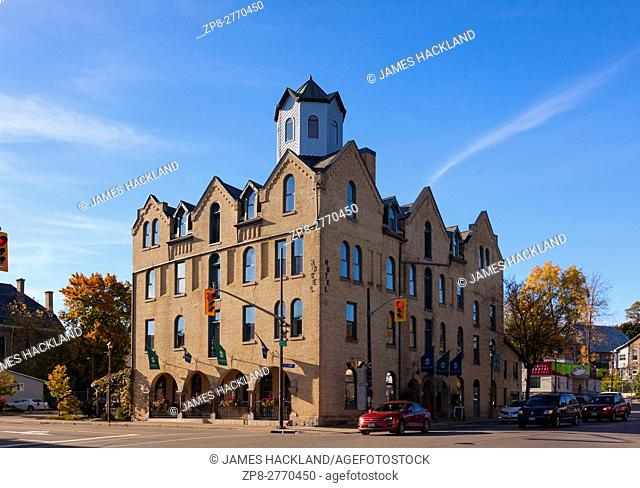 The Arlington Hotel along Grand River Street in Paris, Brant County, Ontario, Canada