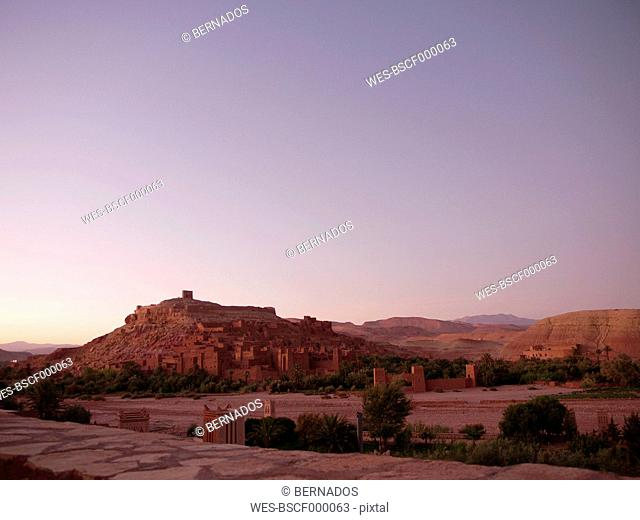 Morocco, Ait Benhaddou, View of historic film set at dusk