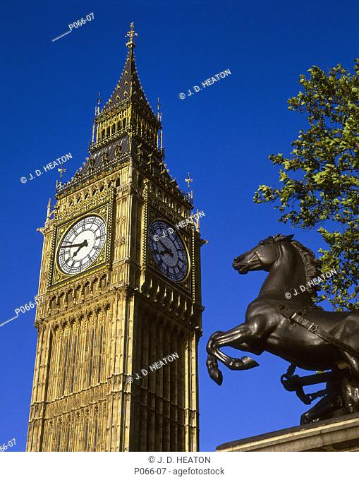 England. London. Big Ben and bodicea statue