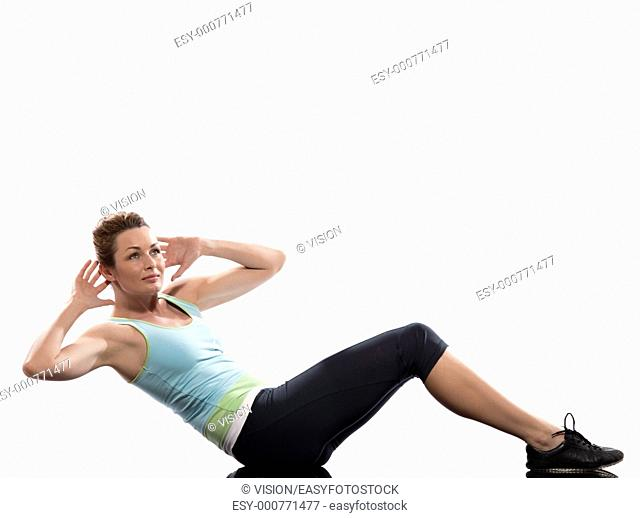 woman on Abdominals rotation workout posture on white background  This exercise engages the oblique abdominal muscles  Start with one leg bent and the other one...