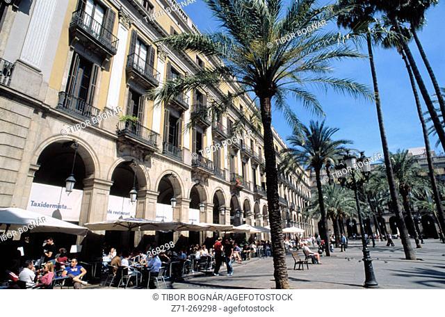 Plaça Reial in Barcelona. Catalunya. Spain