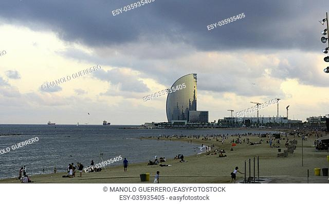 Barceloneta beach with modern building in the background, Barcelona, Catalunya, Spain