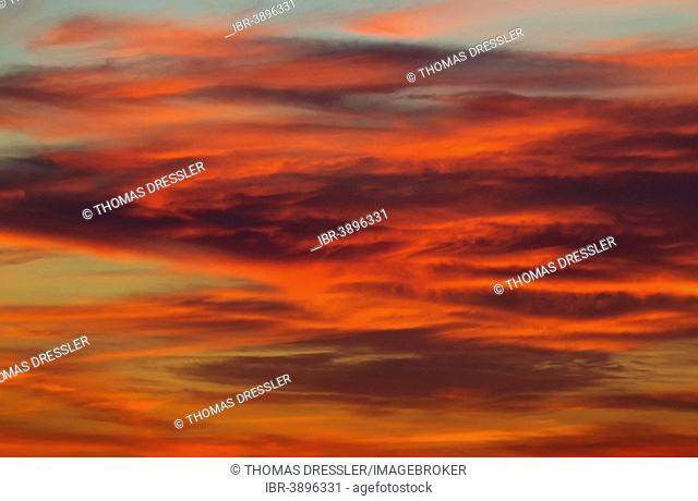 Stratocumulus clouds in sunset light, Andalusia, Spain