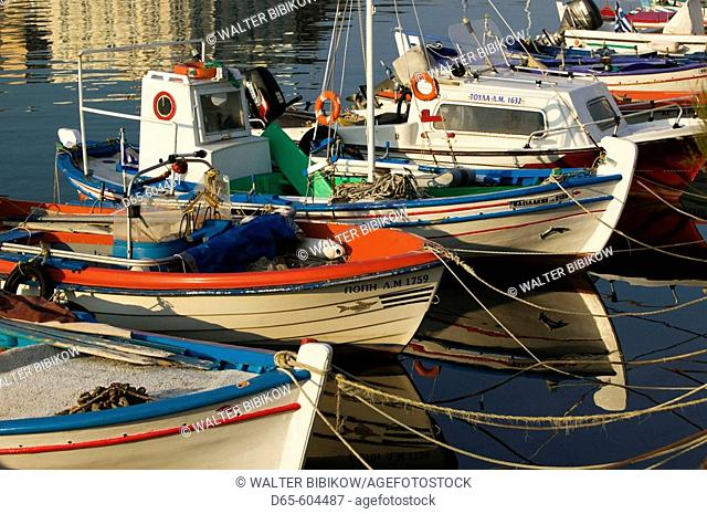 Small Fishing Boats. Southern Harbor. Late Afternoon. Mytilini. Lesvos. Northeastern Aegean Islands. Greece