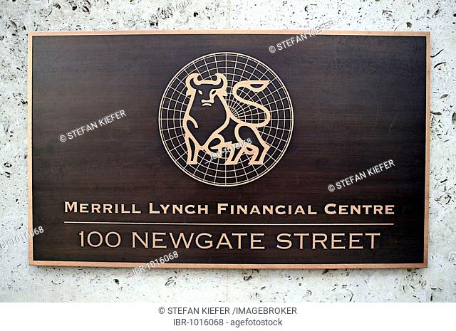 Sign of the Merrill Lynch International Bank in London, England, Great Britain, Europe