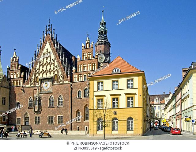 Wroclaw, Silesia, Poland. Town Hall in the main market square (Rynek)