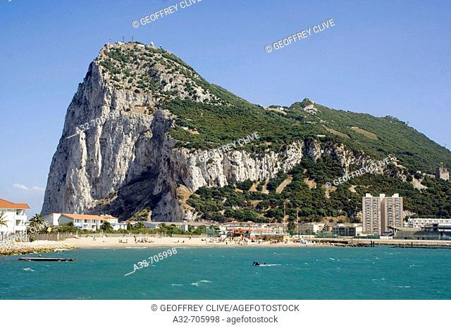 Gibraltar, view of the Rock from La Linea (Cadiz province, Andalucia, Spain)
