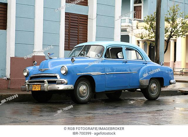Vintage care parked on a street in Cienfuegos, Cuba, Caribbean, Americas