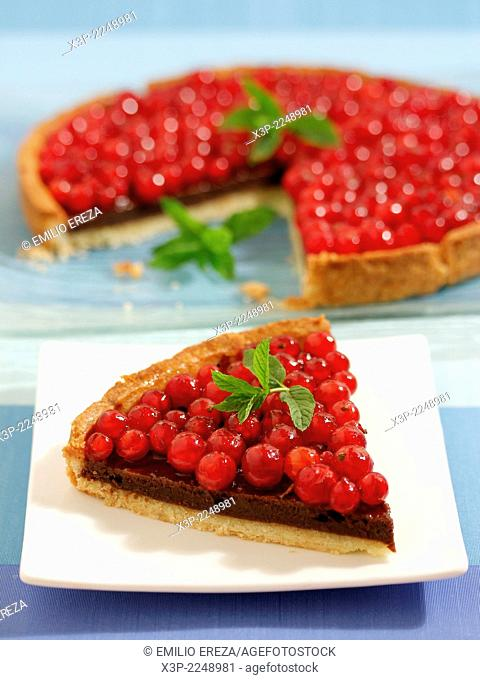 Chocolate tart with red currants