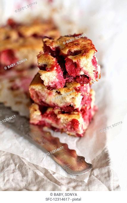 Cherry pie on parchment and linen napkin