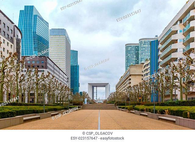 Skyscraper on the Esplanade De La Defense in Paris, France