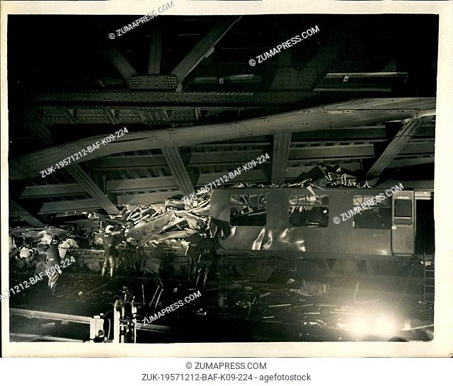 Dec. 12, 1957 - Tragic crash at Lewisham - London: More than forty people are feared to have lost their lives by the crash of a steam train from Cannon Street...
