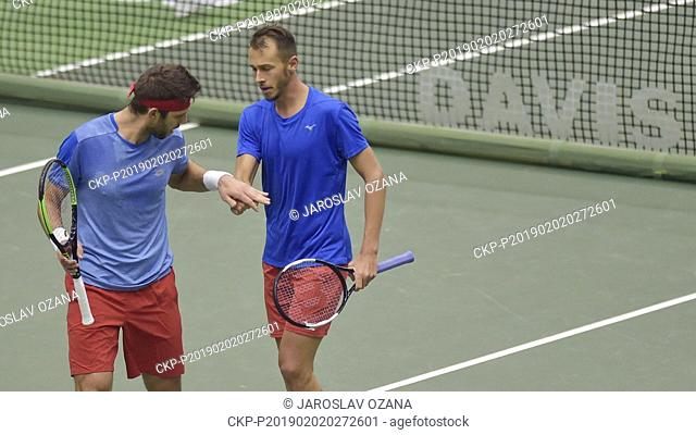 Jiri Vesely, left, and Lukas Rosol of Czech Republic react during the doubles match of the Davis Cup qualifying round Czech Republic vs Netherlands against...